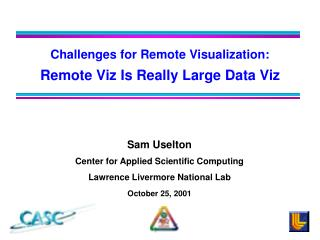 Challenges for Remote Visualization: Remote Viz Is Really Large Data Viz