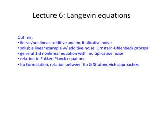 Lecture 6: Langevin equations