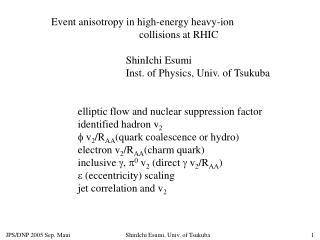 Event anisotropy in high-energy heavy-ion                                   collisions at RHIC