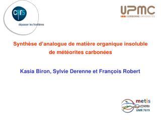 Synthèse d'analogue de matière organique insoluble  de météorites carbonées