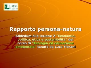 Rapporto persona-natura