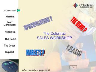 The Colortrac  SALES WORKSHOP