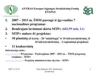 ANTRAS Europos Sąjungos Struktūrinių Fondų ETAPAS