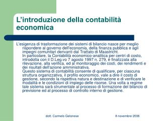 L'introduzione della contabilità economica