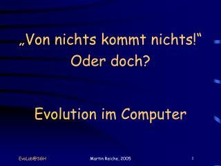 """""""Von nichts kommt nichts!"""" Oder doch? Evolution im Computer"""