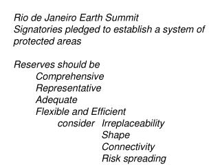 Rio de Janeiro Earth Summit Signatories pledged to establish a system of protected areas