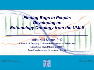 Finding Bugs in People: Developing an  Entomology Ontology from the UMLS
