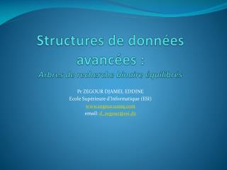 Structures de données avancées :  Arbres de recherche binaire équilibrés