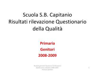 Scuola S.B. Capitanio Risultati rilevazione Questionario della Qualità