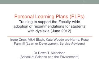Personal Learning Plans (PLPs)