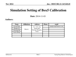 Simulation Setting of Box5 Calibration