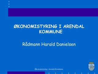 ØKONOMISTYRING I ARENDAL KOMMUNE Rådmann Harald Danielsen