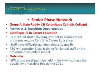 Senior Phase Network Group  A: Kate Ruddy. (St Columbans Catholic College)