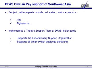 DFAS Civilian Pay support of Southwest Asia