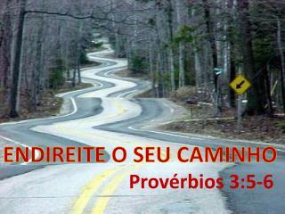 ENDIREITE O SEU CAMINHO Provérbios  3:5-6
