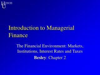 ZSOB Introduction to Managerial Finance