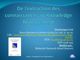 De l'extraction des connaissances au Knowledge Management
