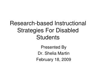 Research-based Instructional Strategies For Disabled Students
