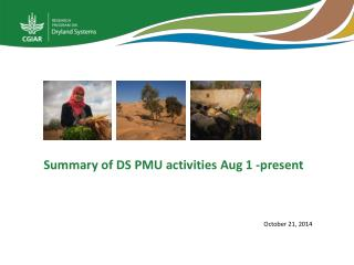Summary of DS PMU activities Aug 1 -present