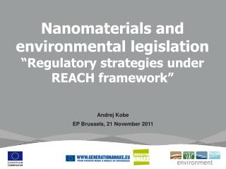 "Nanomaterials and environmental legislation ""Regulatory strategies under REACH framework"""