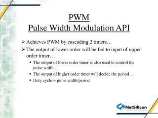 PWM Pulse Width Modulation API