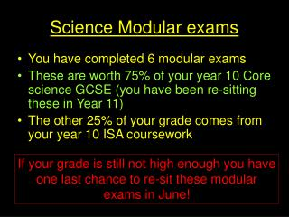 Science Modular exams