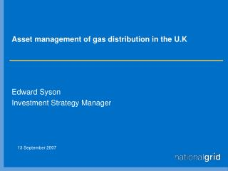 Asset management of gas distribution in the U.K