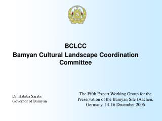 BCLCC Bamyan Cultural Landscape Coordination Committee
