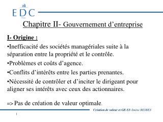 Chapitre II-  Gouvernement d'entreprise