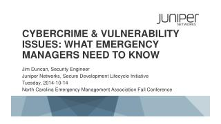 Cybercrime  & Vulnerability Issues: What Emergency Managers need to know