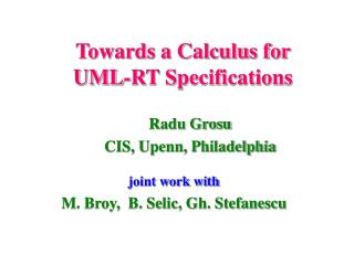 Towards a Calculus for UML-RT Specifications