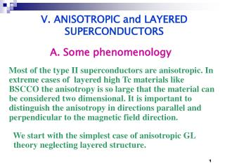 V. ANISOTROPIC and LAYERED SUPERCONDUCTORS