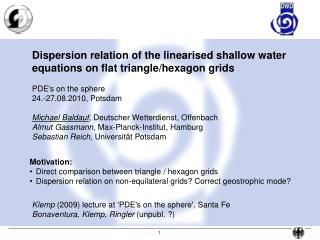 Dispersion relation of the linearised shallow water  equations on flat triangle/hexagon grids