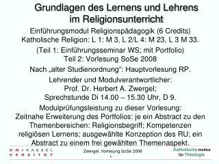 Grundlagen des Lernens und Lehrens im Religionsunterricht