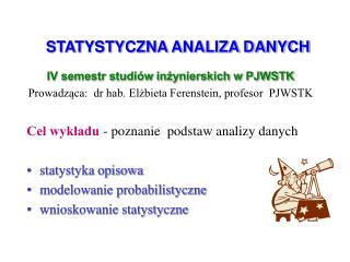 STATYSTYCZNA ANALIZA DANYCH