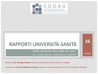 Rapporti  università‐sanità