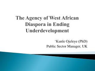 The Agency of West African Diaspora in Ending Underdevelopment
