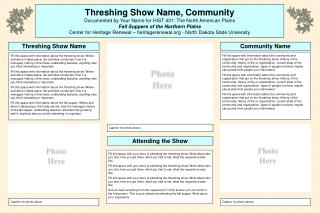 Threshing Show Name, Community Documented by Your Name for HIST 431: The North American Plains