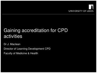 Gaining accreditation for CPD activities
