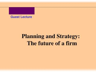 Planning and Strategy: The future of a firm