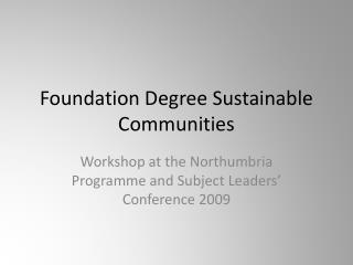 Foundation Degree Sustainable Communities