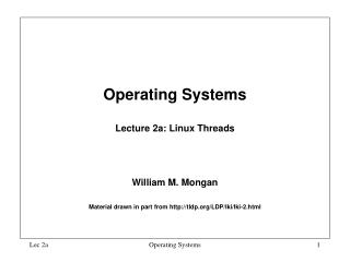 Operating Systems  Lecture 2a: Linux Threads