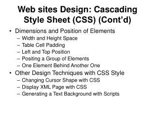 Web sites Design: Cascading Style Sheet (CSS) (Cont'd)