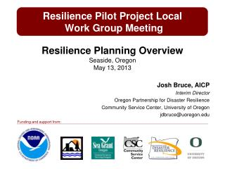 Resilience Pilot Project Local  Work Group Meeting