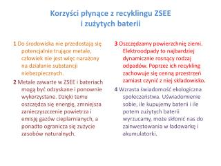 Korzyści płynące z recyklingu ZSEE i zużytych baterii