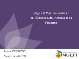 Stage à la Mutuelle Générale  de l'Économie, des Finances et de l'Industrie