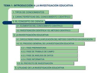 TEMA 1: INTRODUCCIÓN A LA INVESTIGACIÓN EDUCATIVA