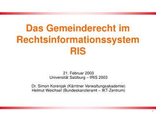 Das Gemeinderecht im Rechtsinformationssystem RIS