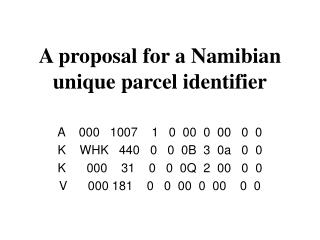 A proposal for a Namibian unique parcel identifier