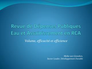 Revue de Dépenses Publiques  Eau et  Assainissement  en RCA